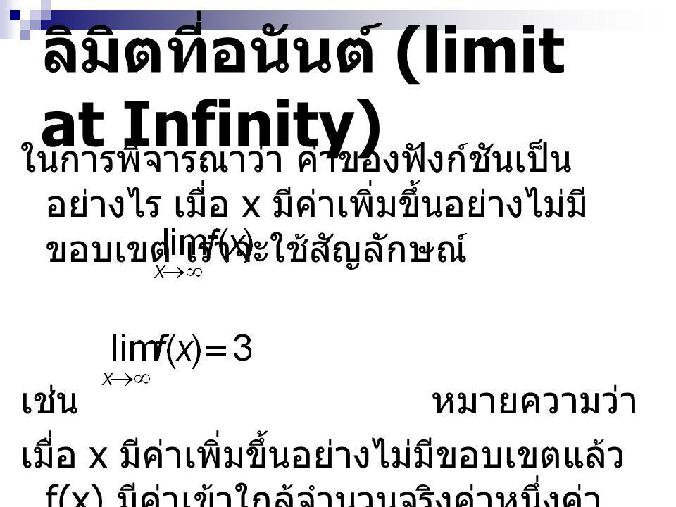 ลิมิตที่อนันต์ (limit at Infinity) ในการพิจารณาว่า ค่าของฟังก์ชันเป็น อย่างไร เมื่อ x มีค่าเพิ่มขึ้นอย่างไม่มี ขอบเขต เราจะใช้สัญลักษณ์ เช่น หมายความว่า เมื่อ x มีค่าเพิ่มขึ้นอย่างไม่มีขอบเขตแล้ว f(x) มีค่าเข้าใกล้จำนวนจริงค่าหนึ่งค่า เดียว คือ 3