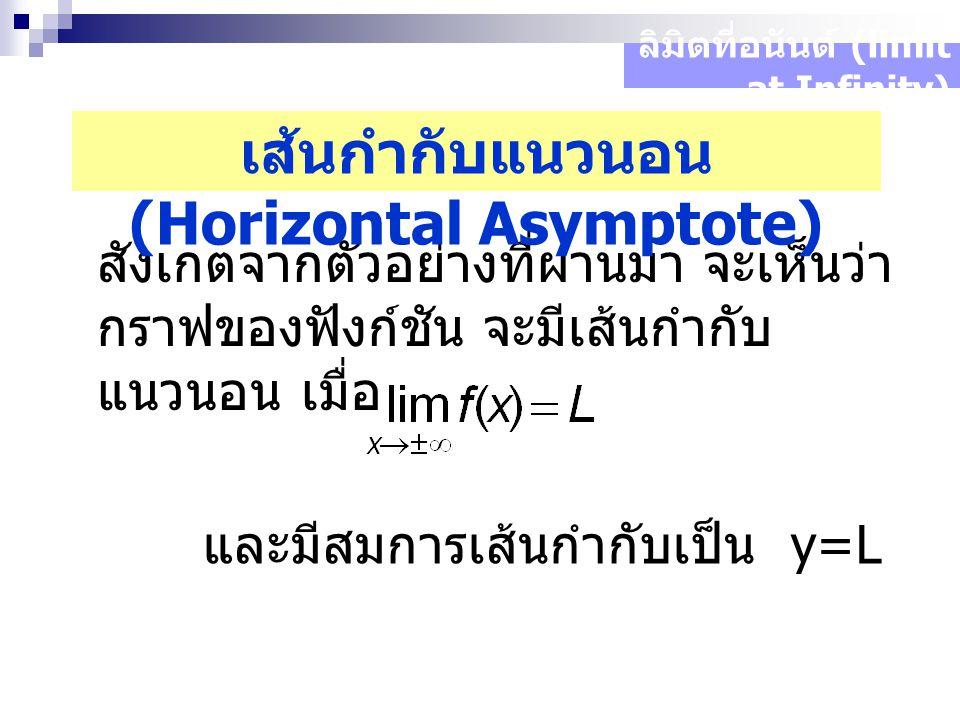 สังเกตจากตัวอย่างที่ผ่านมา จะเห็นว่า กราฟของฟังก์ชัน จะมีเส้นกำกับ แนวนอน เมื่อ ลิมิตที่อนันต์ (limit at Infinity) เส้นกำกับแนวนอน (Horizontal Asymptote) และมีสมการเส้นกำกับเป็น y=L