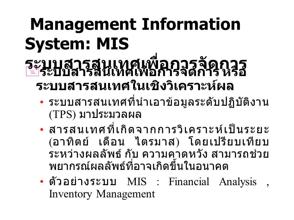 Decision Supporting System: DSS ระบบสนับสนุนการตัดสินใจ Decision Supporting System ระบบสารสนเทศสำหรับแก้ไขปัญหากึ่ง โครงสร้าง (Semi Structure Problem) และไม่มี โครงสร้าง (Unstructure Problem) DSS ต้องมีความยืดหยุ่น (Flexibility) DSS ต้องมีตัวแบบ (Model) DSS สามารถให้คำตอบเพื่อที่ใช้ตัดสินใจใน สภาวะต่างๆได้ ตัวอย่างของระบบ DSS เช่นระบบการพยากรณ์ อากาศ ระบบการเลือกคณะการ Entrance ระบบ สนับสนุนการตัดสินใจในการปลูกพืช