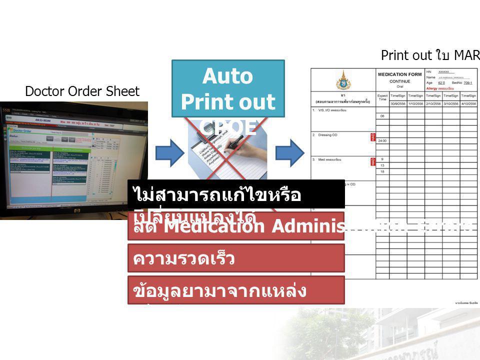 ระบบพิมพ์ แบบบันทึก การ บริหารยา แบบ กึ่งอัตโนมั ติ Doctor Order Sheet Semi Auto Print out ใบ MAR Semi-automatic Medication Administration Record Sheet print-out system.