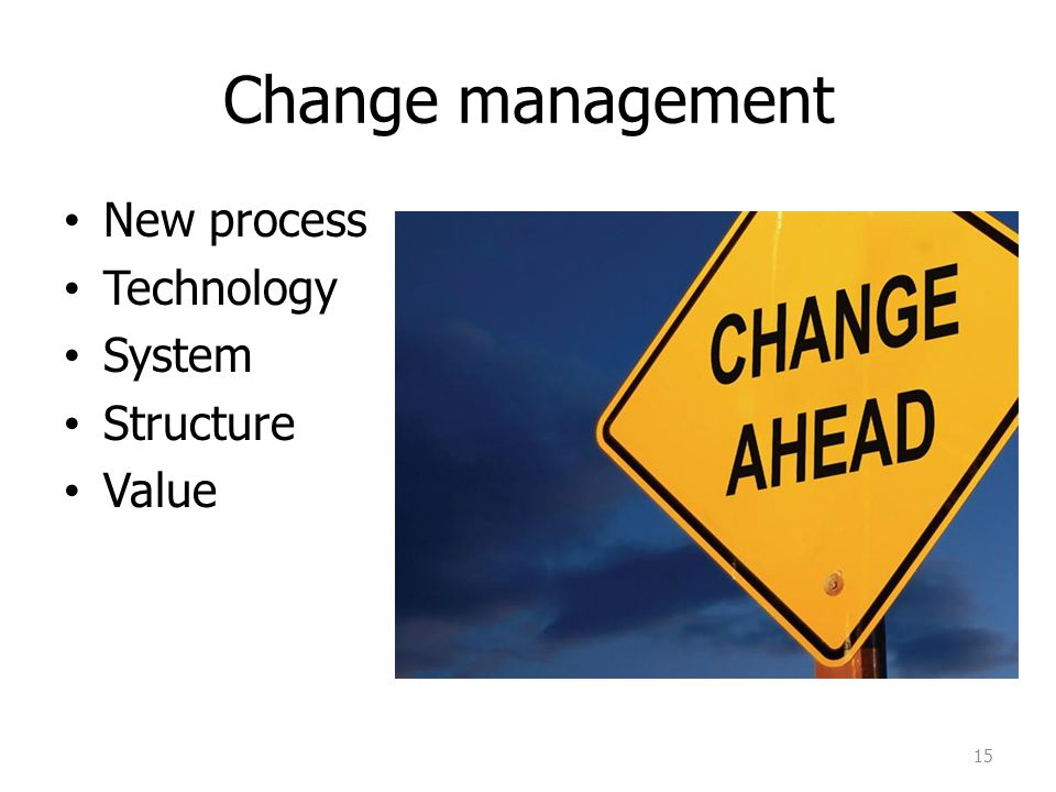 Change management New process Technology System Structure Value 15