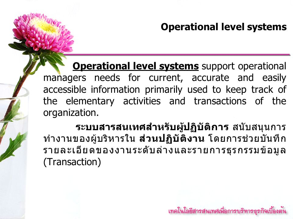 Operational level systems Operational level systems support operational managers needs for current, accurate and easily accessible information primari