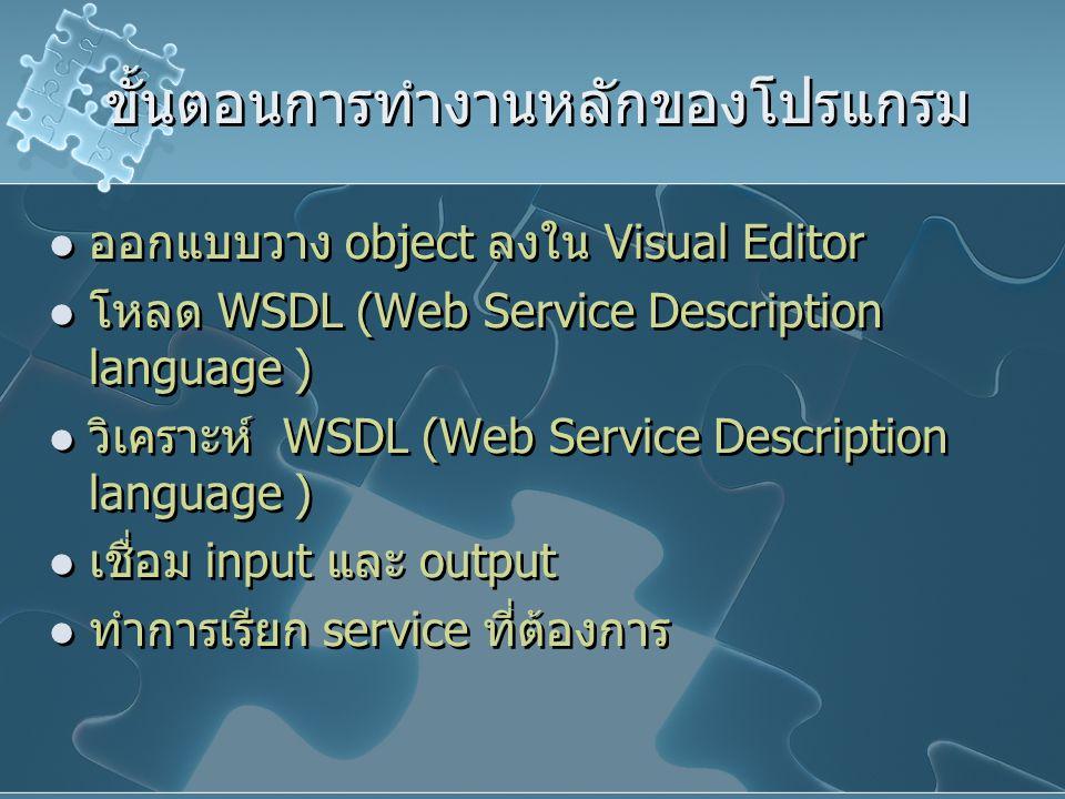 ขั้นตอนการทำงานหลักของโปรแกรม ออกแบบวาง object ลงใน Visual Editor โหลด WSDL (Web Service Description language ) วิเคราะห์ WSDL (Web Service Descriptio