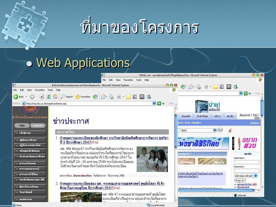 ที่มาของโครงการ Web Applications Web Applications