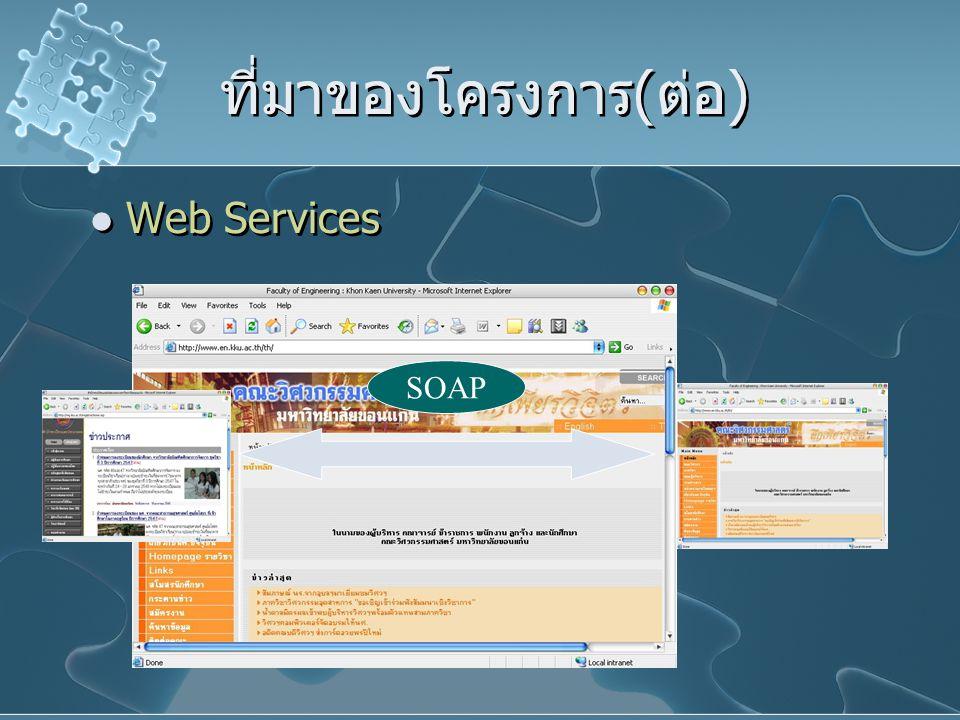 ที่มาของโครงการ(ต่อ) Web Services SOAP