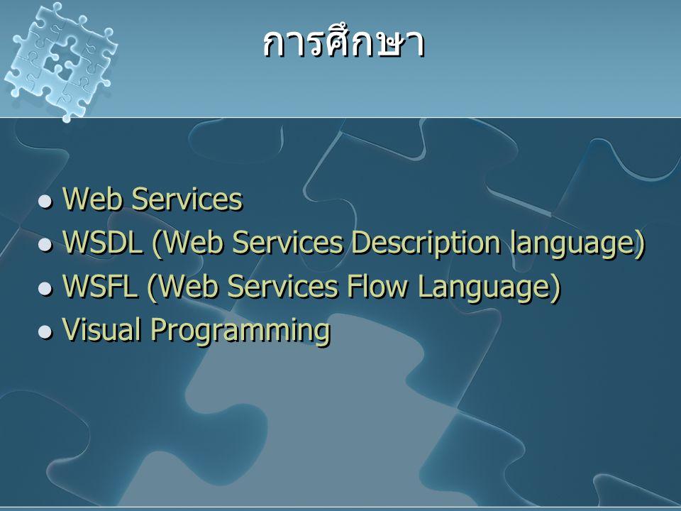การศึกษา Web Services WSDL (Web Services Description language) WSFL (Web Services Flow Language) Visual Programming Web Services WSDL (Web Services De