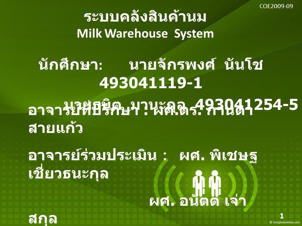 ระบบคลังสินค้านม Milk Warehouse System นักศึกษา : นายจักรพงศ์ นันโช 493041119-1 นายธนิต มานะกุล 493041254-5 อาจารย์ที่ปรึกษา : ผศ. ดร. กานดา สายแก้ว อ