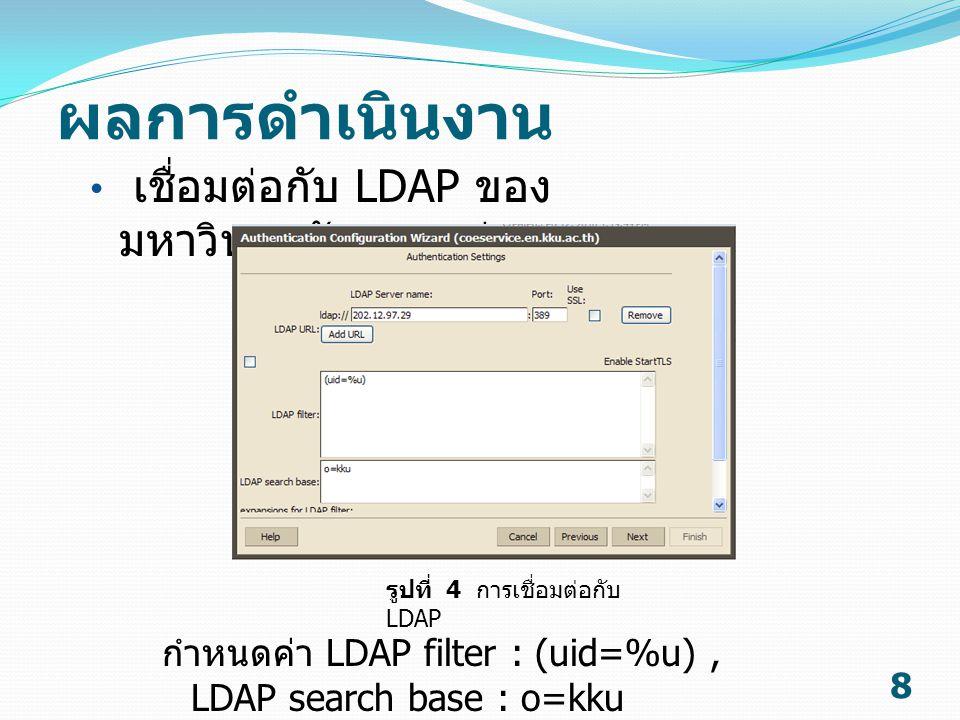 ผลการดำเนินงาน 8 เชื่อมต่อกับ LDAP ของ มหาวิทยาลัยขอนแก่น รูปที่ 4 การเชื่อมต่อกับ LDAP กำหนดค่า LDAP filter : (uid=%u), LDAP search base : o=kku