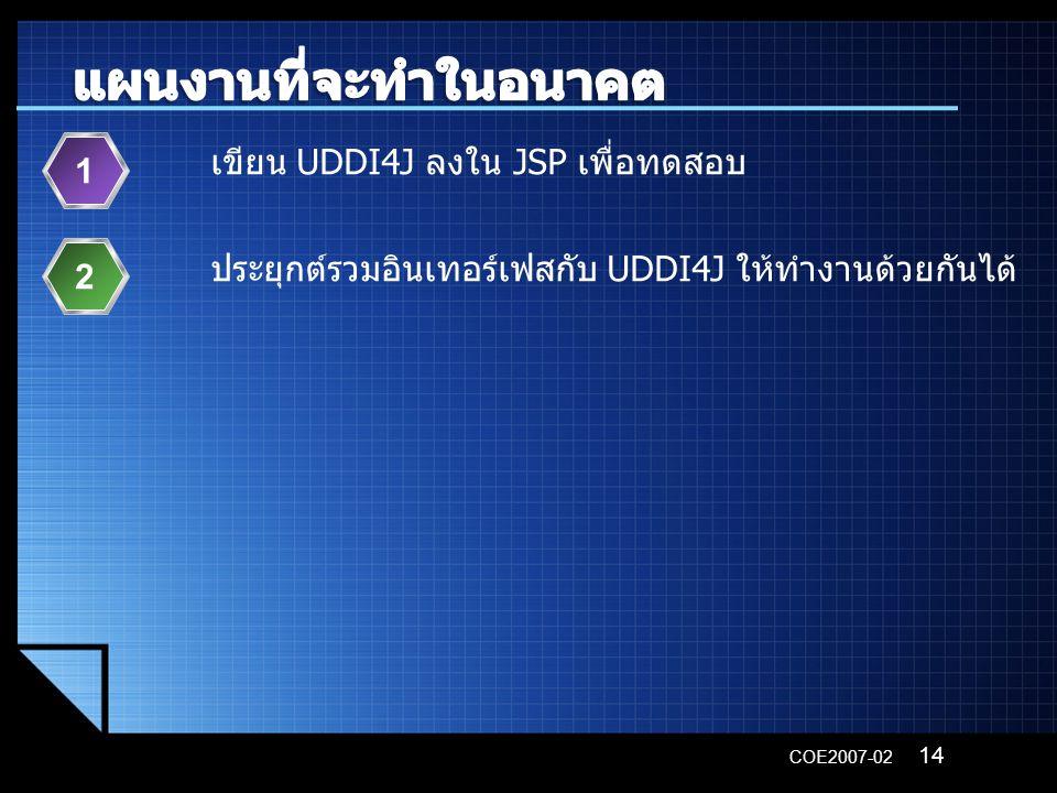 COE2007-02 เขียน UDDI4J ลงใน JSP เพื่อทดสอบ 1 ประยุกต์รวมอินเทอร์เฟสกับ UDDI4J ให้ทำงานด้วยกันได้ 2 14