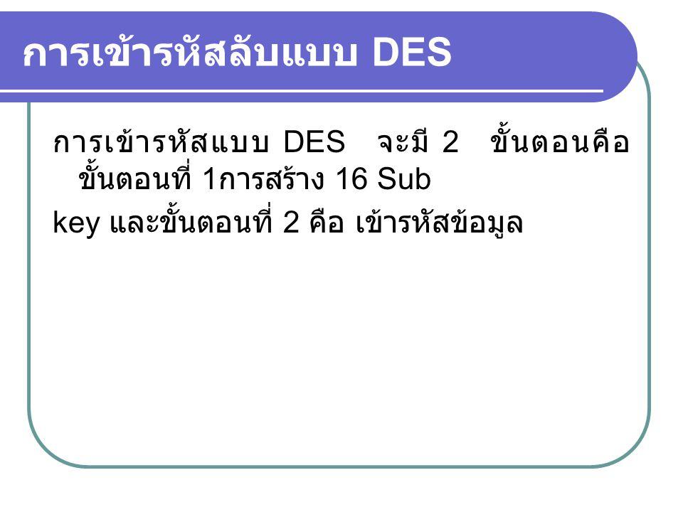 การเข้ารหัสลับแบบ DES การเข้ารหัสแบบ DES จะมี 2 ขั้นตอนคือ ขั้นตอนที่ 1 การสร้าง 16 Sub key และขั้นตอนที่ 2 คือ เข้ารหัสข้อมูล