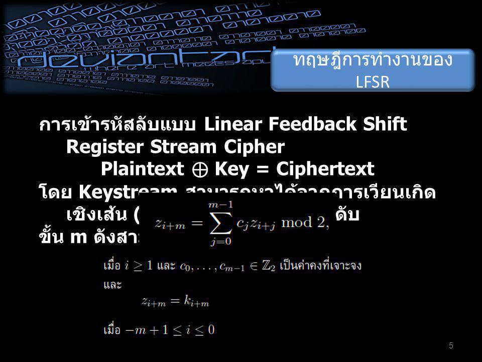 ทฤษฎีการทำงานของ LFSR การเข้ารหัสลับแบบ Linear Feedback Shift Register Stream Cipher Plaintext ⊕ Key = Ciphertext โดย Keystream สามารถหาได้จากการเวียนเกิด เชิงเส้น (linear recurrence) ระดับ ขั้น m ดังสามการ 5