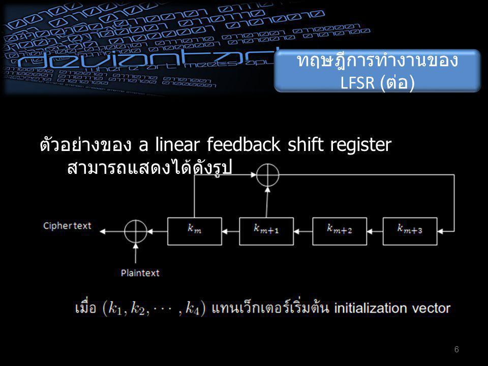 ทฤษฎีการทำงานของ LFSR ( ต่อ ) 6 ตัวอย่างของ a linear feedback shift register สามารถแสดงได้ดังรูป