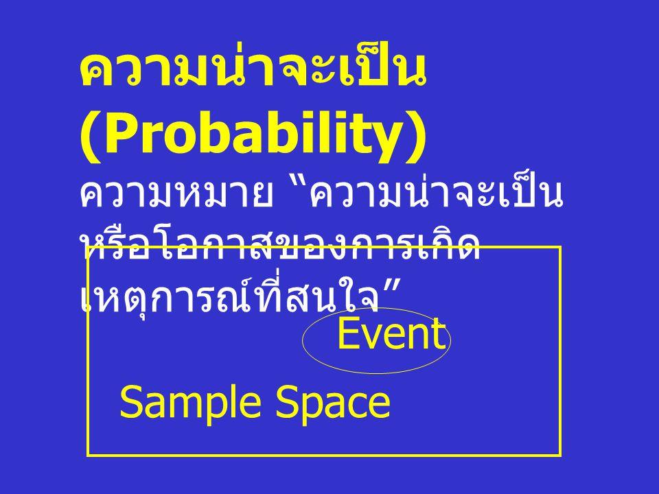 """ความน่าจะเป็น (Probability) ความหมาย """" ความน่าจะเป็น หรือโอกาสของการเกิด เหตุการณ์ที่สนใจ """" Sample Space Event"""