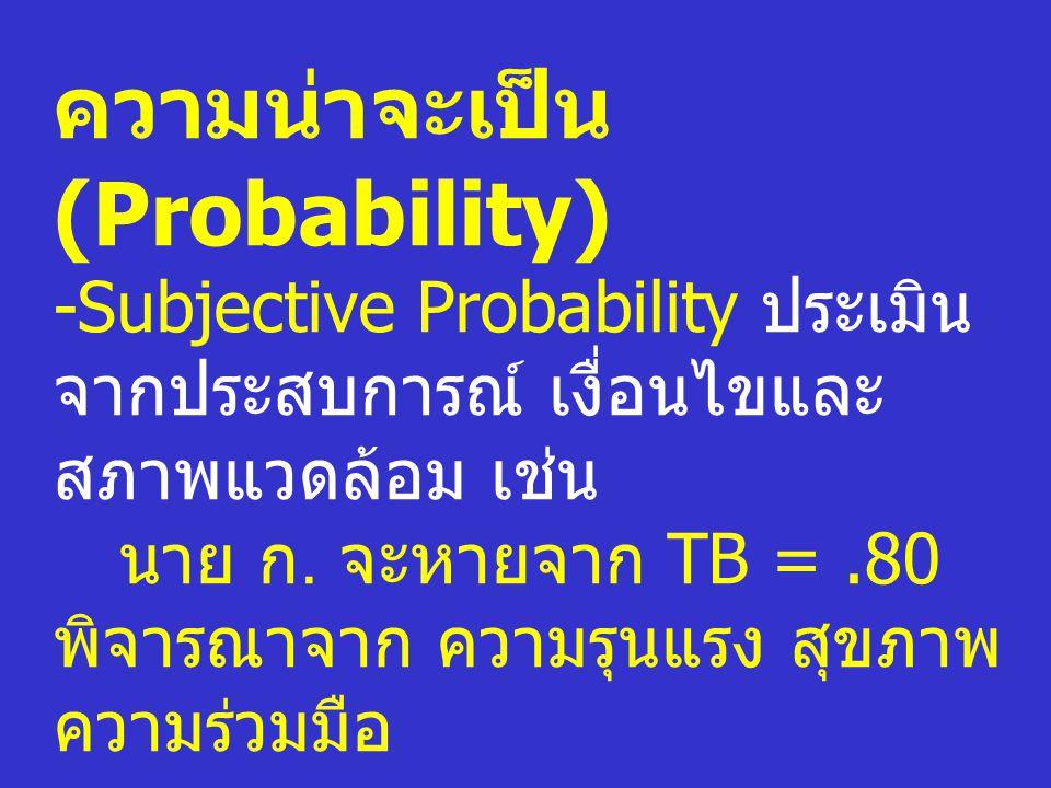 ความน่าจะเป็น (Probability) -Subjective Probability ประเมิน จากประสบการณ์ เงื่อนไขและ สภาพแวดล้อม เช่น นาย ก. จะหายจาก TB =.80 พิจารณาจาก ความรุนแรง ส
