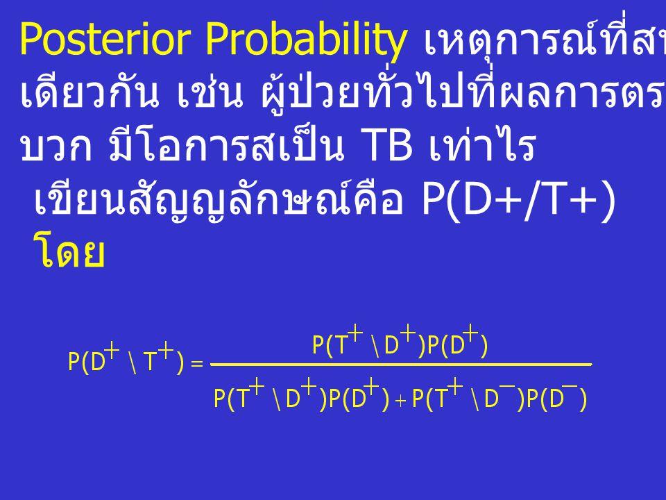 Posterior Probability เหตุการณ์ที่สนใจภายใต้เงื่อนไข เดียวกัน เช่น ผู้ป่วยทั่วไปที่ผลการตรวจเป็น บวก มีโอการสเป็น TB เท่าไร เขียนสัญญลักษณ์คือ P(D+/T+