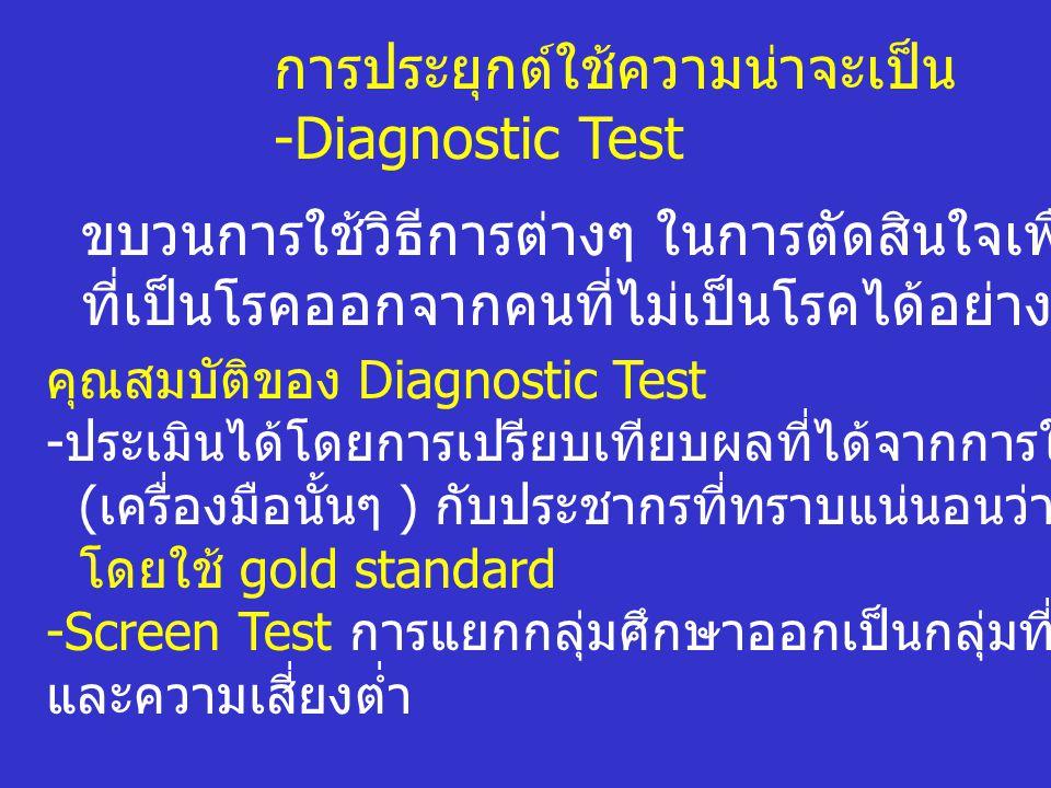 การประยุกต์ใช้ความน่าจะเป็น -Diagnostic Test ขบวนการใช้วิธีการต่างๆ ในการตัดสินใจเพื่อช่วยจำแนกคน ที่เป็นโรคออกจากคนที่ไม่เป็นโรคได้อย่างถูกต้อง คุณสม