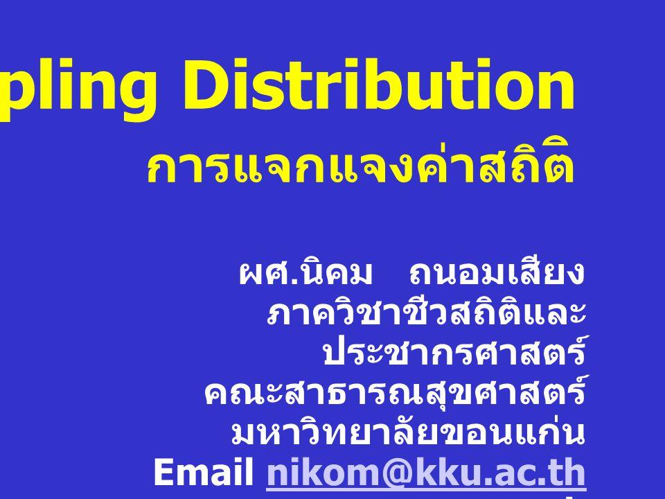 Normal Distribution การศึกษาทางสถิติส่วนมากเป็นการศึกษา ข้อมูลในลักษณะ Normal Distribution