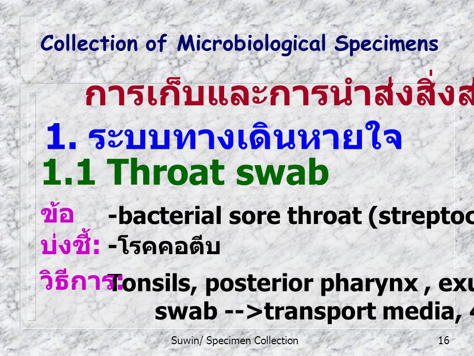 Suwin/ Specimen Collection16 Collection of Microbiological Specimens 1.