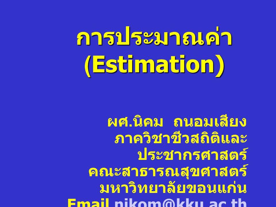 การประมาณค่าแบบช่วงเชื่อมั่น Lower ตัวประมาณ Estimator Upper Confidence limit ตัวประมาณ สัมประสิทธิ์ความเชื่อมั่น x ค่าคาดเคลื่อน