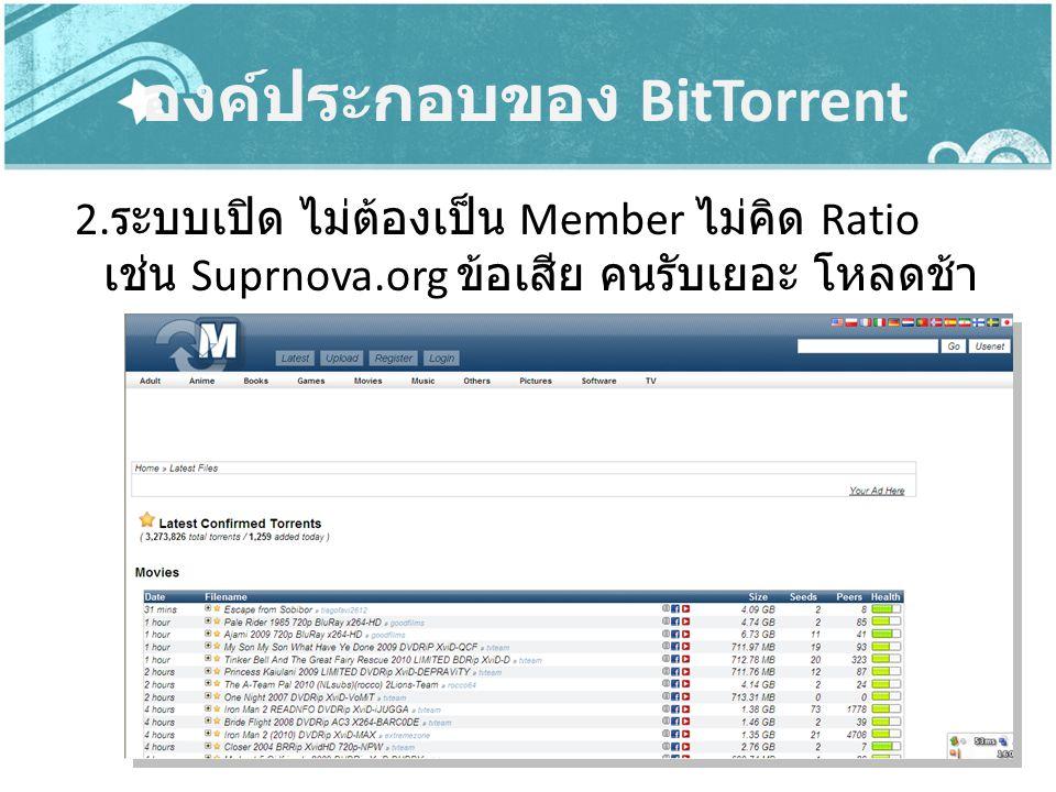องค์ประกอบของ BitTorrent 2. ระบบเปิด ไม่ต้องเป็น Member ไม่คิด Ratio เช่น Suprnova.org ข้อเสีย คนรับเยอะ โหลดช้า