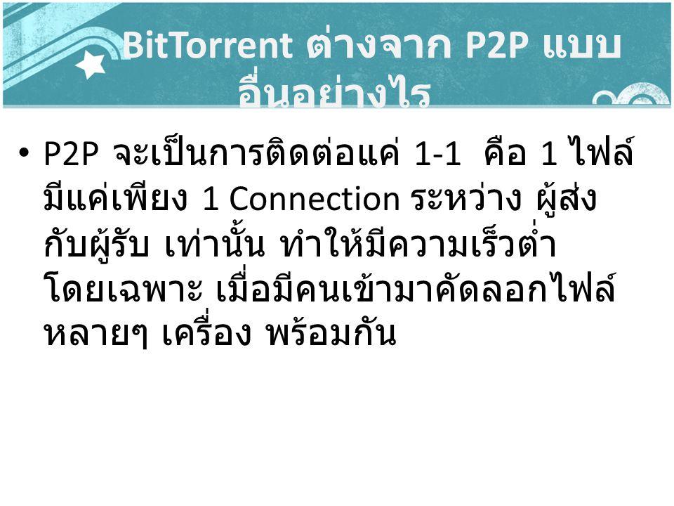 BitTorrent ต่างจาก P2P แบบ อื่นอย่างไร P2P จะเป็นการติดต่อแค่ 1-1 คือ 1 ไฟล์ มีแค่เพียง 1 Connection ระหว่าง ผู้ส่ง กับผู้รับ เท่านั้น ทำให้มีความเร็ว