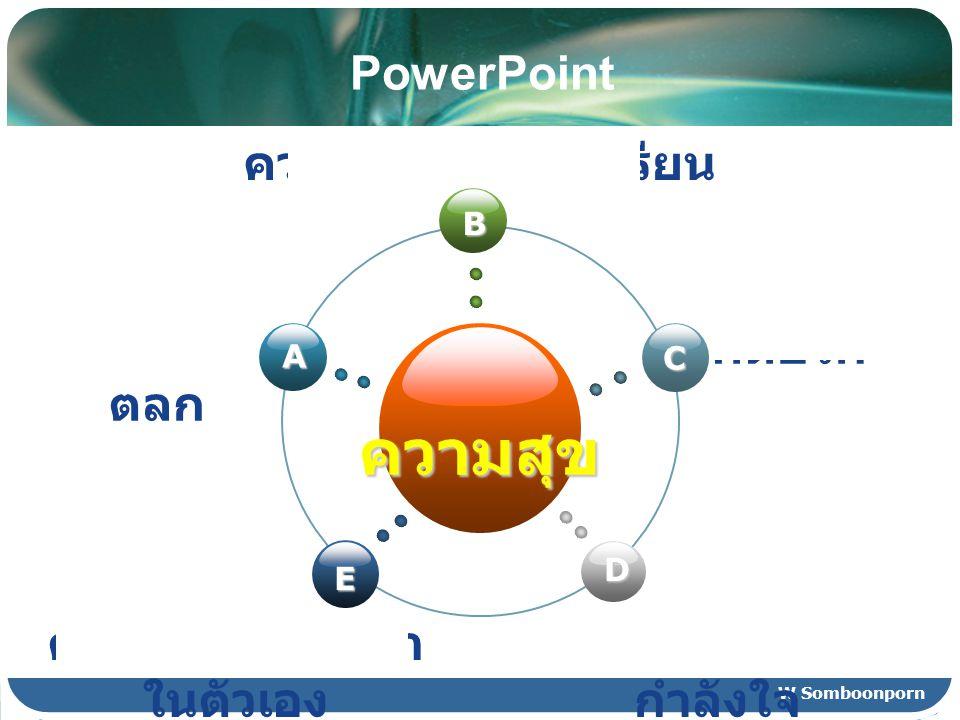 W Somboonporn PowerPoint ความสุข B E C D A เรื่อง ตลก ความเข้าใจในบทเรียน สร้าง กำลังใจ ความรู้สึกมีคุณค่า ในตัวเอง คิดบวก