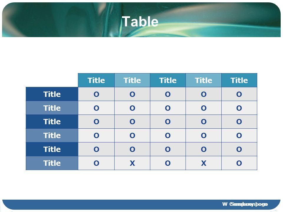 W SomboonpornCompany Logo Table Title OOOOO OOOOO OOOOO OOOOO OOOOO OXOXO