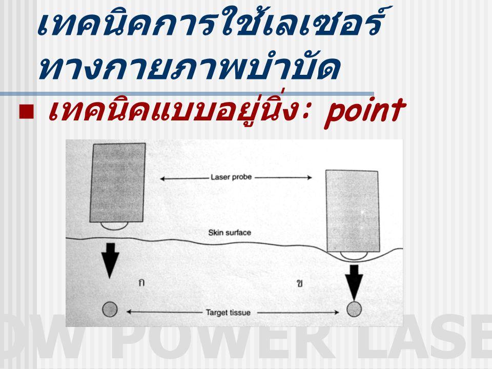 LOW POWER LASER เทคนิคการใช้เลเซอร์ ทางกายภาพบำบัด เทคนิคแบบอยู่นิ่ง : point