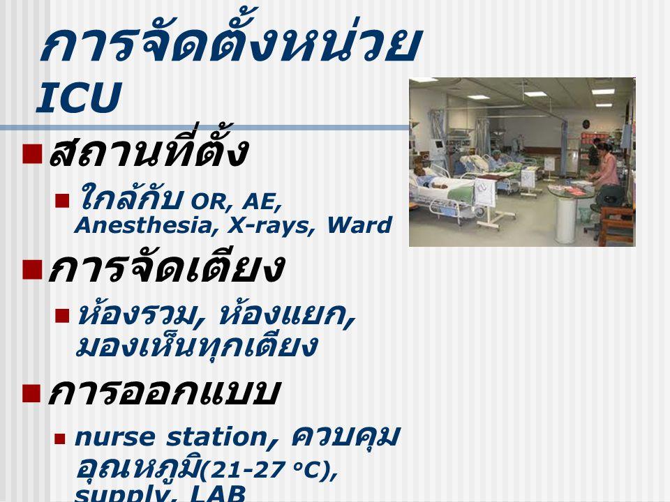 การจัดตั้งหน่วย ICU สถานที่ตั้ง ใกล้กับ OR, AE, Anesthesia, X-rays, Ward การจัดเตียง ห้องรวม, ห้องแยก, มองเห็นทุกเตียง การออกแบบ nurse station, ควบคุม อุณหภูมิ (21-27 o C), supply, LAB