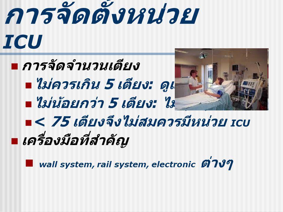 การจัดตั้งหน ่ วย ICU การจัดจำนวนเตียง ไม่ควรเกิน 5 เตียง : ดูและไม่ทั่วถึง ไม่น้อยกว่า 5 เตียง : ไม่คุ้มทุน < 75 เตียงจึงไม่สมควรมีหน่วย ICU เครื่องมือที่สำคัญ wall system, rail system, electronic ต่างๆ