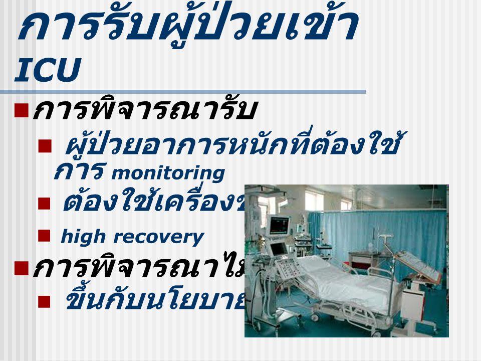 การรับผู้ป่วยเข้า ICU การพิจารณารับ ผู้ป่วยอาการหนักที่ต้องใช้ การ monitoring ต้องใช้เครื่องช่วยชีวิตต่าง high recovery การพิจารณาไม่รับ ขึ้นกับนโยบาย