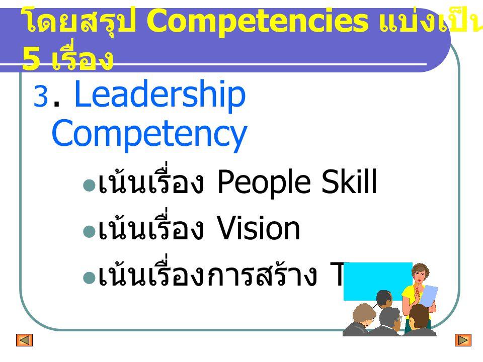 3. Leadership Competency เน้นเรื่อง People Skill เน้นเรื่อง Vision เน้นเรื่องการสร้าง Trust โดยสรุป Competencies แบ่งเป็น 5 เรื่อง