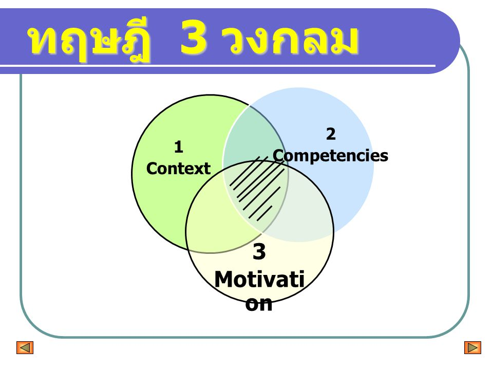 ทฤษฎี 3 วงกลม 3 Motivati on 2 Competencies 1 Context