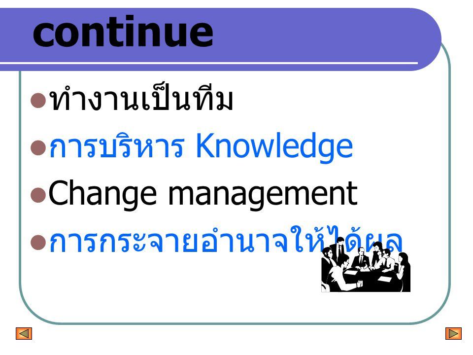 continue ทำงานเป็นทีม การบริหาร Knowledge Change management การกระจายอำนาจให้ได้ผล