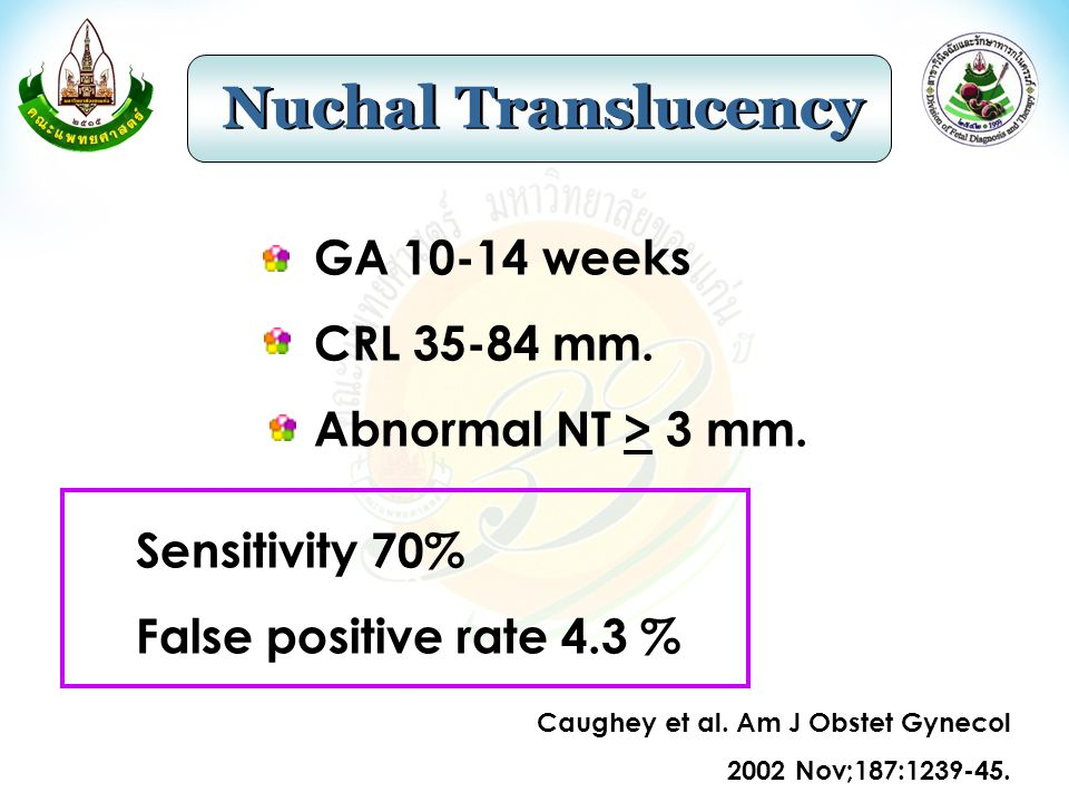 Nuchal Translucency Suntharasaj et al.Gynecol Obstet Invest 2005;60:201-05.
