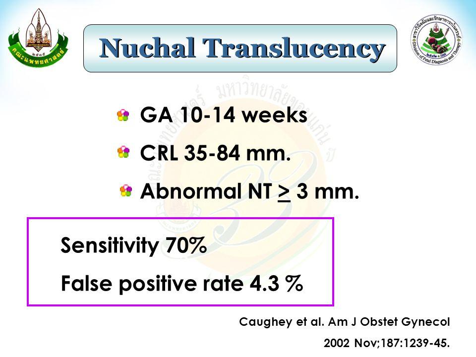 Genetic Sonogram Nuchal fold thickening Shortened humerus Hyperechoic bowel EIF Shortened femur Renal pyelectasis Choroid plexus cyst Positive LR 17 (8-38) 7.5 (4.7-12) 6.1 (3.0-12.6) 2.8 (1.5-5.5) 2.7 (1.2-6.0) 1.9 (0.7-5.1) 1.0 (0.12-9.4)