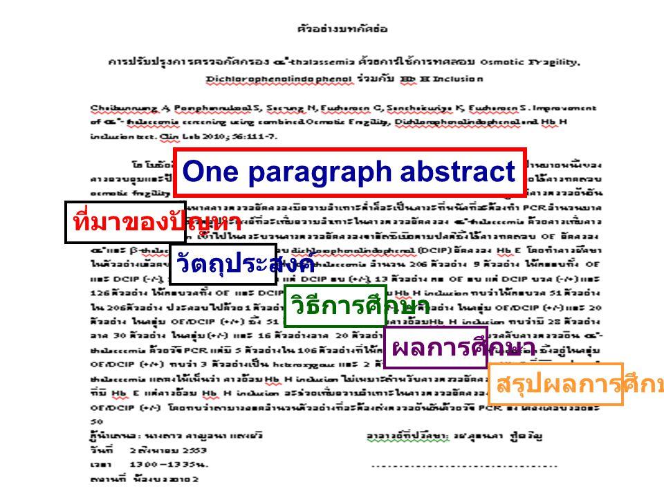 One paragraph abstract ที่มาของปัญหา วัตถุประสงค์ วิธีการศึกษา ผลการศึกษา สรุปผลการศึกษา