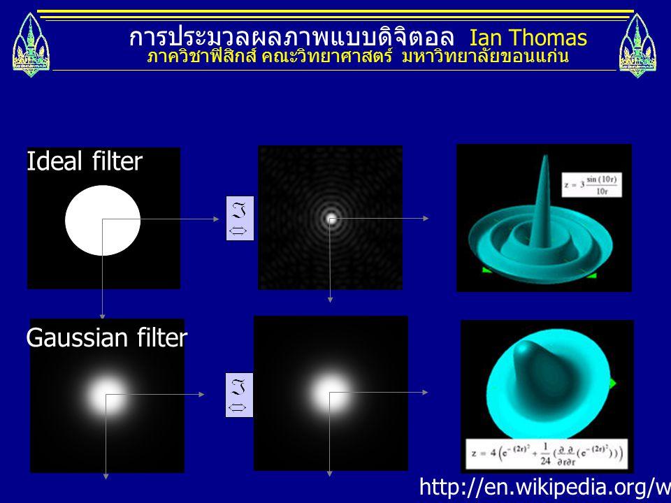 การประมวลผลภาพแบบดิจิตอล Ian Thomas ภาควิชาฟิสิกส์ คณะวิทยาศาสตร์ มหาวิทยาลัยขอนแก่น http://en.wikipedia.org/wiki/Anti-aliasing Ideal filter Gaussian
