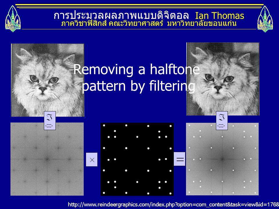 การประมวลผลภาพแบบดิจิตอล Ian Thomas ภาควิชาฟิสิกส์ คณะวิทยาศาสตร์ มหาวิทยาลัยขอนแก่น Filtering by Convolution A N/ 2 0n f( n) |F( u)| u 02/ N - 2/ N AN/2 4/N-4/N