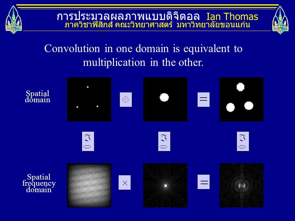 การประมวลผลภาพแบบดิจิตอล Ian Thomas ภาควิชาฟิสิกส์ คณะวิทยาศาสตร์ มหาวิทยาลัยขอนแก่น Spatial domain Spatial frequency domain Convolution in one domain