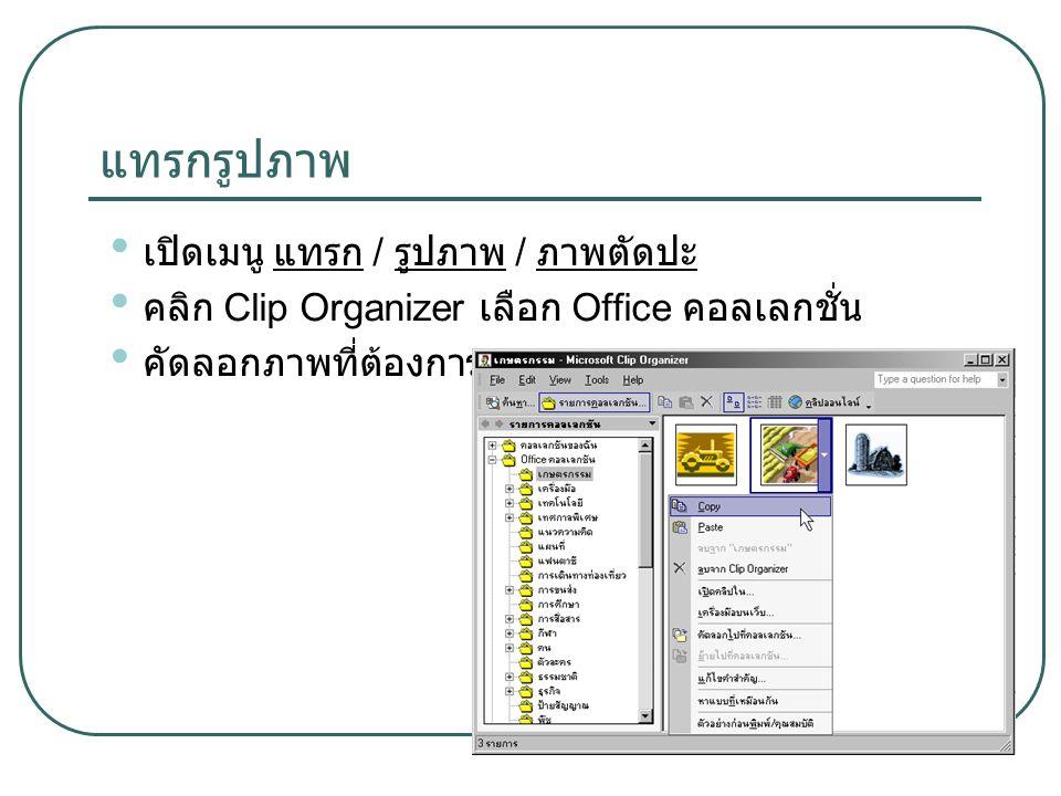 แทรกรูปภาพ เปิดเมนู แทรก / รูปภาพ / ภาพตัดปะ คลิก Clip Organizer เลือก Office คอลเลกชั่น คัดลอกภาพที่ต้องการ