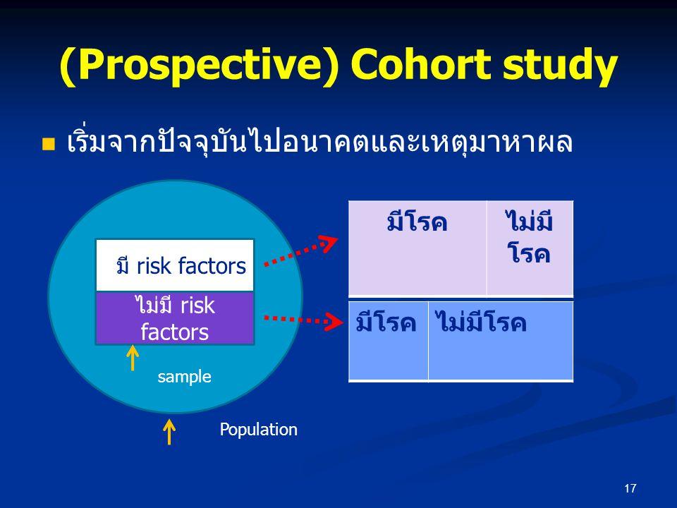 (Prospective) Cohort study เริ่มจากปัจจุบันไปอนาคตและเหตุมาหาผล 17 มีโรคไม่มี โรค มีโรคไม่มีโรค มีมี risk factors ไม่มี risk factors sample Population
