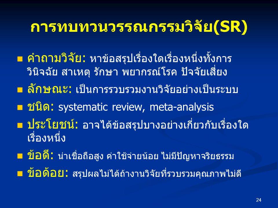 การทบทวนวรรณกรรมวิจัย(SR) คำถามวิจัย: หาข้อสรุปเรื่องใดเรื่องหนึ่งทั้งการ วินิจฉัย สาเหตุ รักษา พยากรณ์โรค ปัจจัยเสี่ยง ลักษณะ: เป็นการรวบรวมงานวิจัยอ