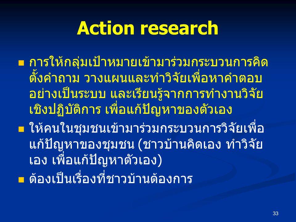 Action research การให้กลุ่มเป้าหมายเข้ามาร่วมกระบวนการคิด ตั้งคำถาม วางแผนและทำวิจัยเพื่อหาคำตอบ อย่างเป็นระบบ และเรียนรู้จากการทำงานวิจัย เชิงปฏิบัติ