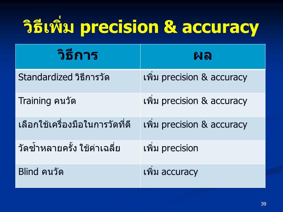 วิธีเพิ่ม precision & accuracy 39 วิธีการผล Standardized วิธีการวัดเพิ่ม precision & accuracy Training คนวัดเพิ่ม precision & accuracy เลือกใช้เครื่อง