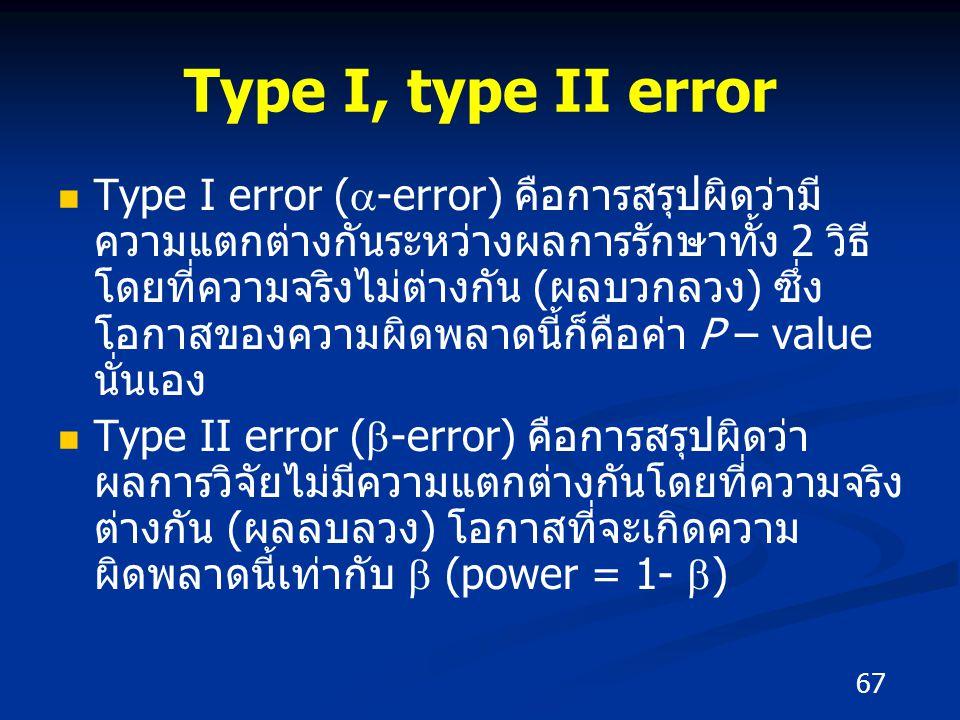 Type I, type II error Type I error (  -error) คือการสรุปผิดว่ามี ความแตกต่างกันระหว่างผลการรักษาทั้ง 2 วิธี โดยที่ความจริงไม่ต่างกัน (ผลบวกลวง) ซึ่ง