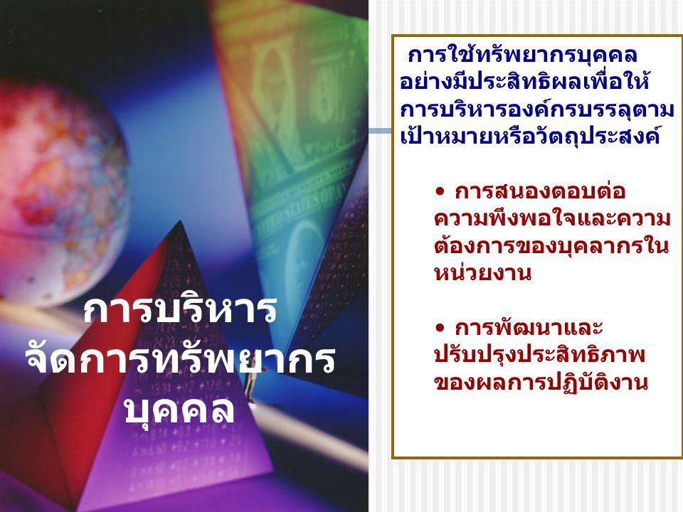 กิจกรรม HRM การสรรหาคัดเลือก การจ้าง การพัฒนา การประเมิน การจูงใจและการรักษา การวินัยและ อุทธรณ์ การเลิกจ้างและต่อสัญญาจ้าง กิจกรรม HRM การสรรหาคัดเลือก การจ้าง การพัฒนา การประเมิน การจูงใจและการรักษา การวินัยและ อุทธรณ์ การเลิกจ้างและต่อสัญญาจ้าง การประเมินผล Evaluation of performance การประเมินผล Evaluation of performance ยุทธศาสตร์ HRM How it is to be achieved ยุทธศาสตร์ HRM How it is to be achieved เป้าหมายของมหาวิทยาลัย ยุทธศาสตร์ โครงสร้าง วัฒนธรรม มหาวิทยาลัย มหาวิทยาลัย เป้าหมายของมหาวิทยาลัย ยุทธศาสตร์ โครงสร้าง วัฒนธรรม มหาวิทยาลัย มหาวิทยาลัย วัตถุประสงค์การบริหารและพัฒนาทรัพยากรบุคคล What is to be achieved วัตถุประสงค์การบริหารและพัฒนาทรัพยากรบุคคล What is to be achieved ผลลัพธ์ของ HRM ผลการปฏิบัติงาน ความสามารถและทักษะ ความมุ่งมั่น การ ปรับตัว ความคุ้มค่า ความ พึงพอใจในงาน ผลลัพธ์ของ HRM ผลการปฏิบัติงาน ความสามารถและทักษะ ความมุ่งมั่น การ ปรับตัว ความคุ้มค่า ความ พึงพอใจในงาน