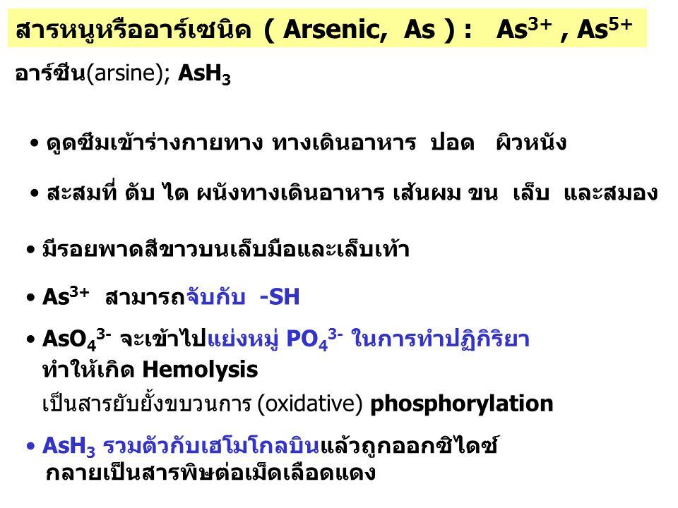 สารหนูหรืออาร์เซนิค ( Arsenic, As ) : As 3+, As 5+ อาร์ซีน(arsine); AsH 3 As 3+ สามารถจับกับ -SH AsO 4 3- จะเข้าไปแย่งหมู่ PO 4 3- ในการทำปฏิกิริยา เป