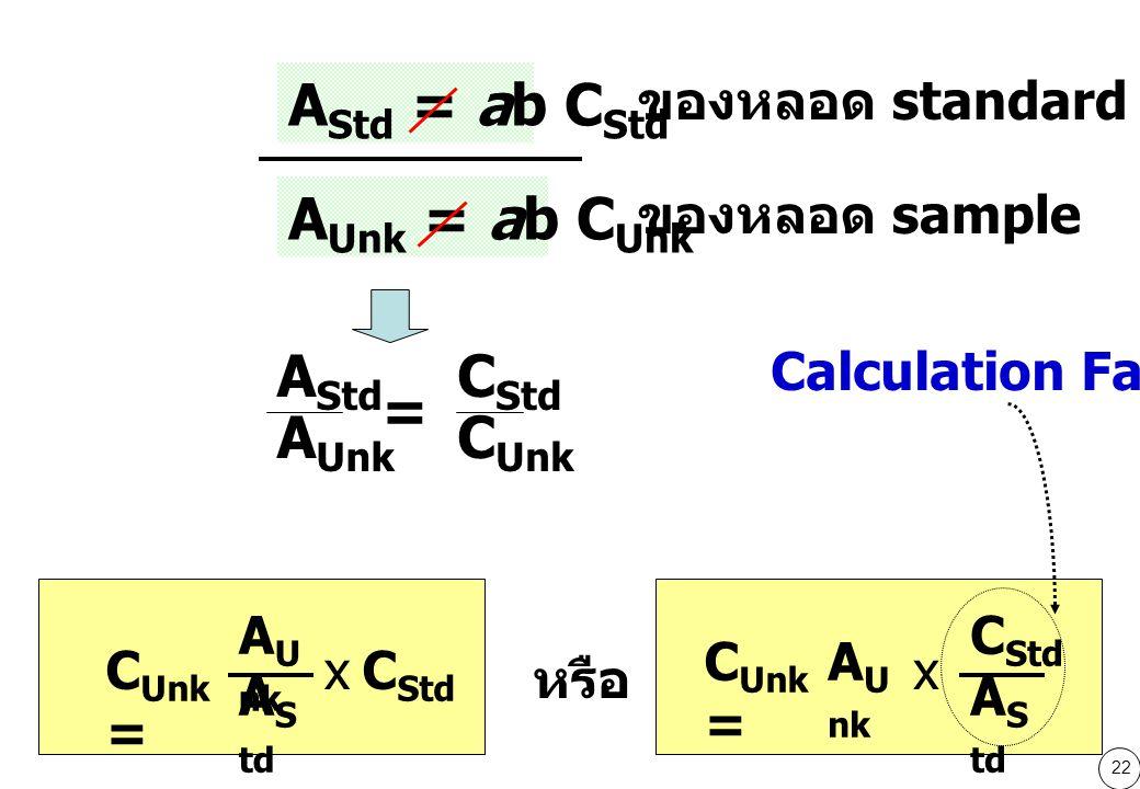 22 A Std = ab C Std A Unk = ab C Unk ของหลอด standard ของหลอด sample A Std A Unk = C Std C Unk A U nk A S td C Std x C Unk = A U nk A S td C Std x หรือ Calculation Factor