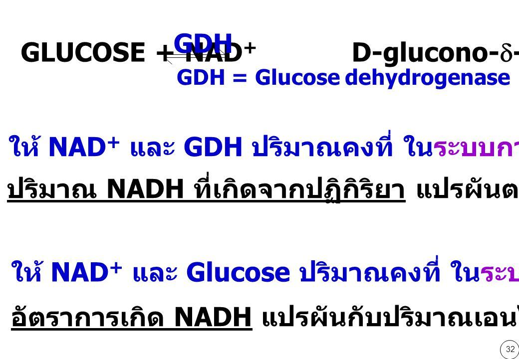 32 GDH = Glucose dehydrogenase GLUCOSE + NAD + D-glucono-  -lactone + NADH + H + GDH ให้ NAD + และ GDH ปริมาณคงที่ ในระบบการวัดปริมาณ glucose ปริมาณ NADH ที่เกิดจากปฏิกิริยา แปรผันตรงกับปริมาณ glucose ให้ NAD + และ Glucose ปริมาณคงที่ ในระบบการวัด GDH อัตราการเกิด NADH แปรผันกับปริมาณเอนไซม์ GDH